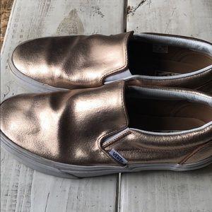 Vans Rose Gold Slip Ons Size 9